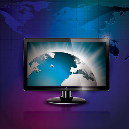 technology styled illustration with shiny world picture on shiny screen background Vector