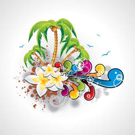 Vector Summer Holiday Design met palmbomen en abstracte achtergrond Eps10 afbeelding Stock Illustratie