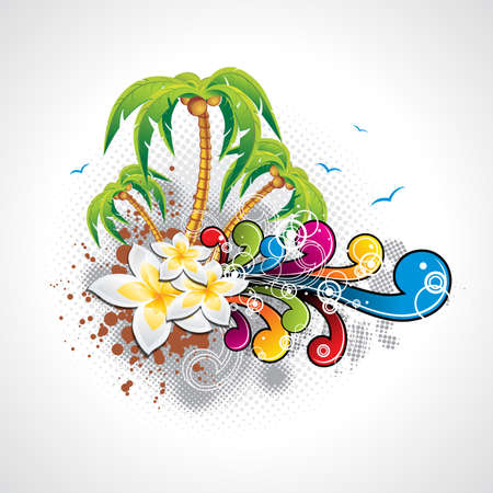 Vector Summer Holiday Design with palm trees and abstract  background  Eps10 illustration
