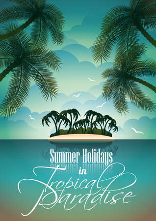 Vector Summer Holiday Flyer Design with palm trees and Paradise Island on clouds background  Eps10 illustration
