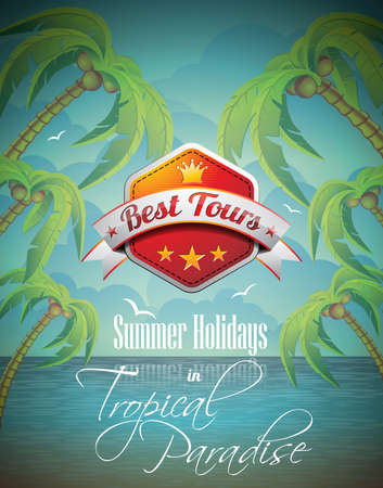 Vector Summer Holiday Flyer Design with palm trees and Best Tour Banner on sea background  Eps10 illustration