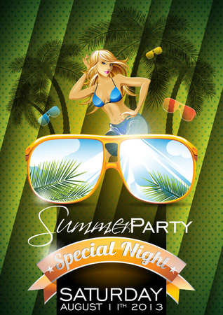 Vector Summer Beach Party Flyer Design with sexy girl and sunglasses on green background. Eps10 illustration.