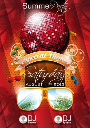 Vector Summer Beach Party Flyer Design with disco ball and sunglasses on red background. Eps10 illustration.