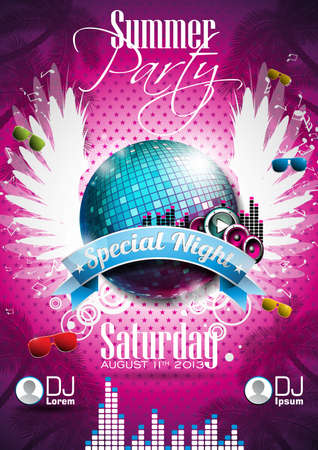clubbing: Summer Beach Party Flyer Design with disco ball and wings on pink background.