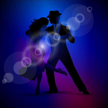 design with couple dancing tango on dark background.  illustration Çizim