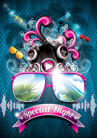 스피커와 파란색 배경에 선글라스와 벡터 여름 해변 파티 전단 디자인. EPS10 그림. 일러스트