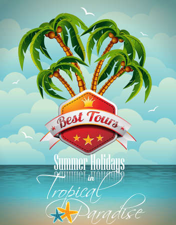 Vector Summer Holiday Flyer Design with palm trees and Best Tour Banner on sea background. Eps10 illustration. Çizim