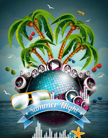 summer party: Vector Summer Beach Party Flyer design con discoteca palla e altoparlanti su sfondo tropicale del mare. Eps10.