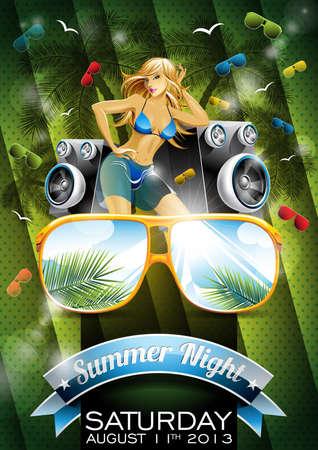 섹시한 여자와 녹색 배경에 선글라스와 벡터 여름 해변 파티 전단 디자인. EPS10 그림.