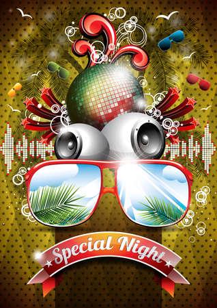 Vector Summer Beach Party Flyer Design met discobal en een zonnebril op abstracte tropische achtergrond. Eps10.