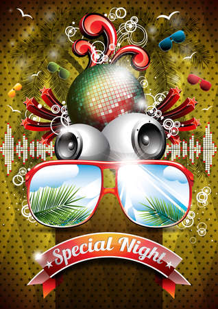 Vector Summer Beach Party Flyer Design with disco ball and sunglasses on abstract tropical background. Eps10 illustration. Vector
