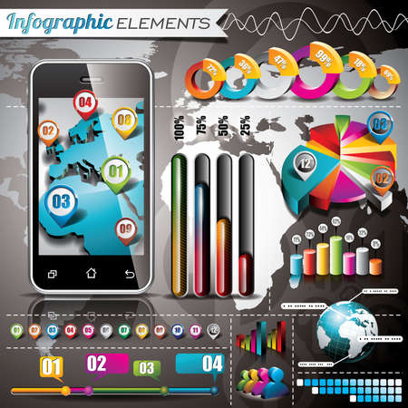 Vector design set of infographic elements. World map and information graphics on mobile phone. EPS 10 illustration Vector