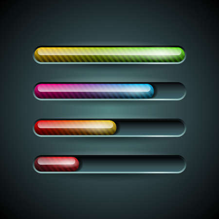 Vector shiny progress indicator set on a dark background. EPS 10 illustration Vector
