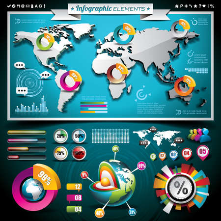 Vector design set of infographic elements  World map and information graphics on mobile phone  EPS 10 illustration Vector