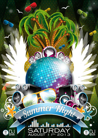 Vector Summer Beach Party Flyer Design with disco ball and wings on green background  Eps10 illustration  Çizim