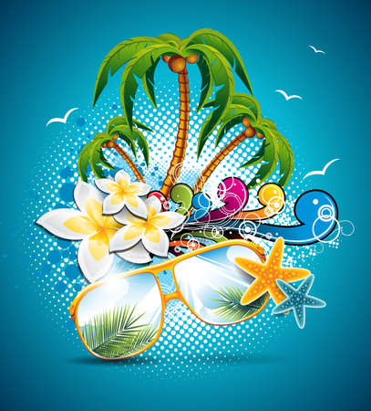 vacation: Summer Holiday Flyer Design with palm trees and Paradise Island on clouds background
