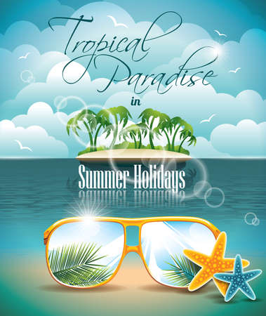 Summer Holiday Flyer Design with palm trees and Paradise Island on clouds background
