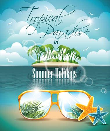 Summer Holiday Folders met palmbomen en Paradise Island op wolken achtergrond Stock Illustratie