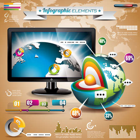 demographics: technology design set of infographic elements  World map and information graphics on shiny display    Illustration