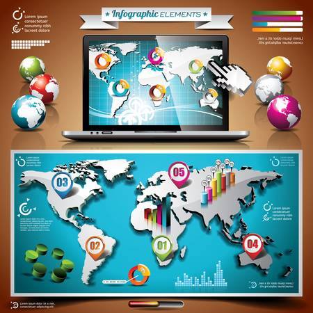 design set of infographic elements on laptop. World map and information graphics.  Ilustracja
