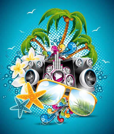 Summer Beach Party Flyer con gafas de sol y estrellas de mar sobre fondo azul.