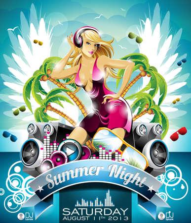 disco parties: Summer Beach Party Flyer con la chica sexy y altavoces en el fondo de nubes. Vectores