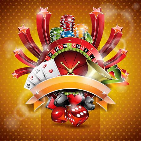 roulette: illustrazione su un tema di casinò con la ruota della roulette e nastro. Vettoriali