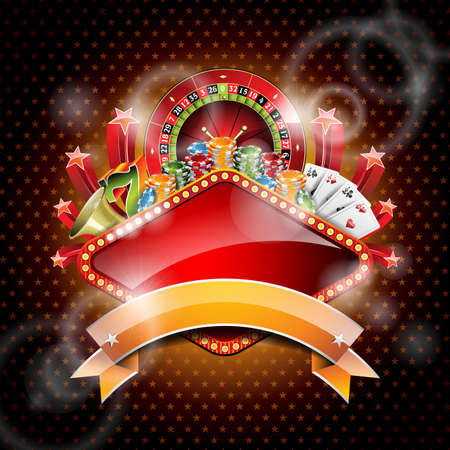 illustration on a casino theme with roulette wheel and ribbon.