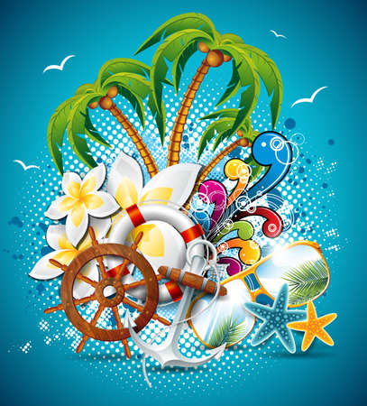 Summer Holiday Flyer Design with palm trees and shipping elements. Illustration