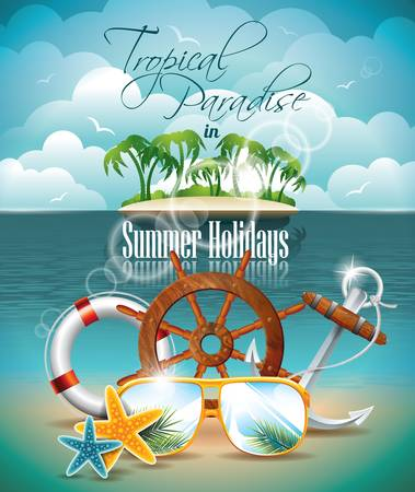 Summer Holiday Flyer Design with palm trees and shipping elements on tropical background.  Çizim