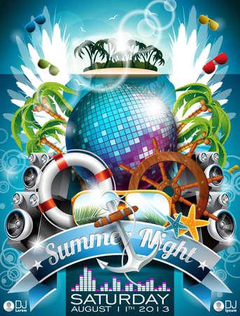 Summer Beach Party Flyer Design con bola de discoteca y elementos de envío en el fondo tropical.