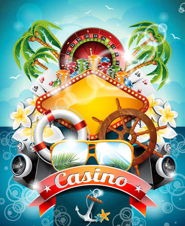 illustration on a casino theme with roulette wheel and ribbon on tropical background.  Vector