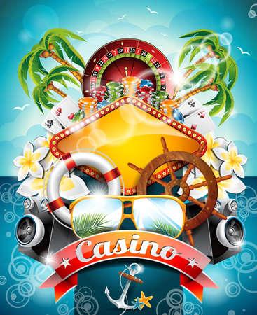 roue de fortune: illustration sur un th�me de casino avec roulette et le ruban sur fond tropical.