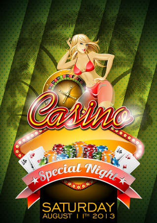 illustration on a casino theme with roulette wheel and sexy girl on tropical background.  Vector
