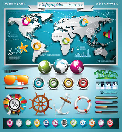 Summer travel infographic set with world map and vacation elements Stock Vector - 20414974