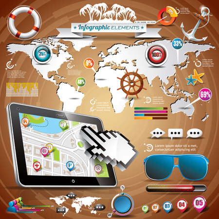 Summer travel infographic set with world map and vacation elements Vector