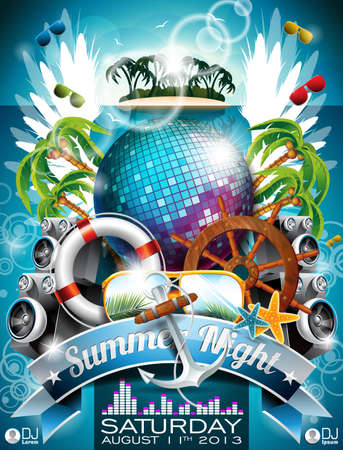 Summer Beach Party Flyer Design with disco ball and shipping elements on tropical background Vectores