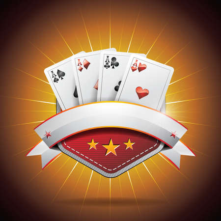 roulette wheel: illustration on a casino theme with poker card and ribbon
