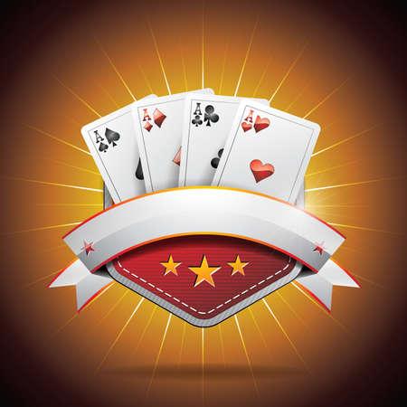 cartas de poker: ilustración sobre un tema de casino con cartas de póquer y la cinta Vectores