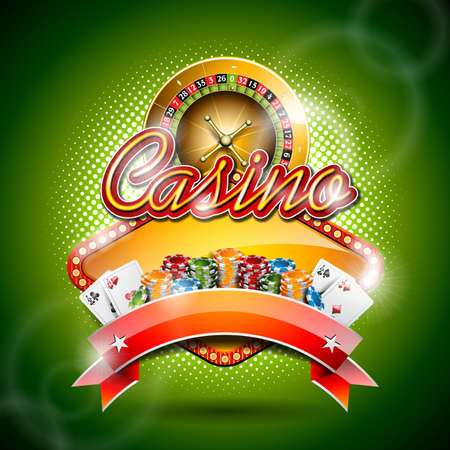illustration on a casino theme with roulette wheel and ribbon   Vector