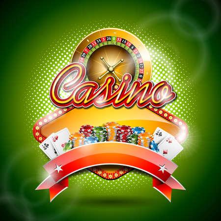 fichas de casino: Ilustraci�n sobre un tema de casino, Ruleta y cinta