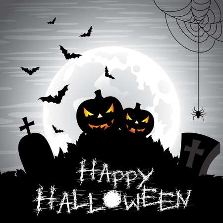 illustration on a Halloween theme on a moon background  Vector