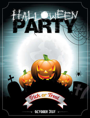 Vector illustration on a Halloween Party theme with pumpkins  Vector