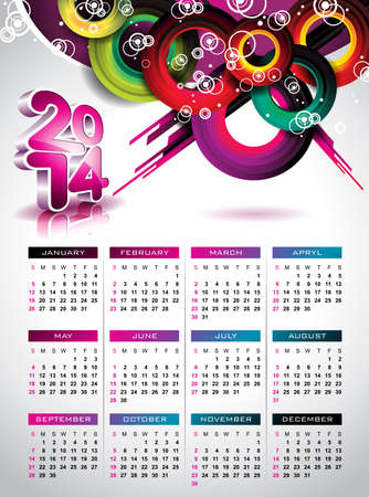 Vector Calendar 2014 illustration on a color background. Vector