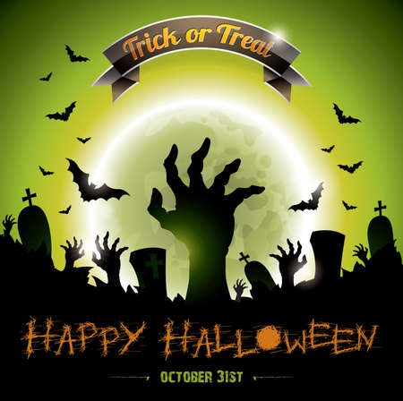 illustration on a Halloween Zombie Party theme on green background. Stock Vector - 23081208
