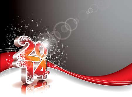 Gelukkig Nieuwjaar 2014 kleurrijke viering achtergrond Stock Illustratie