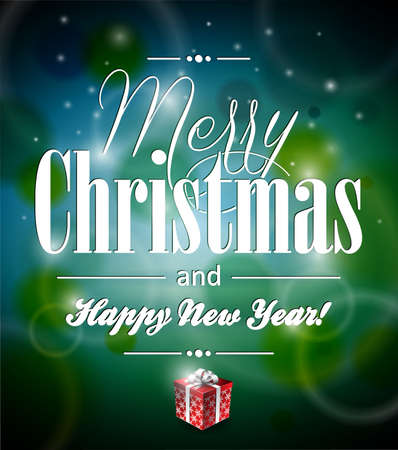 Merry Christmas illustration with typographic design and gift-box on shiny. Vector