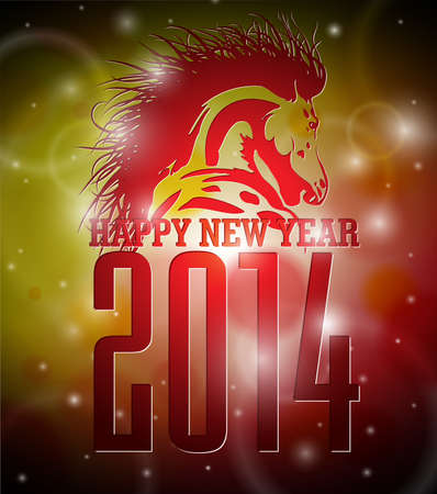 Vector Happy New Year 2014 design with horse on shiny background.   Ilustracja