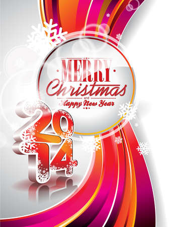 Vector Happy New Year 2014 colorful celebration background.  Ilustracja