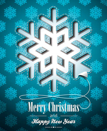 Vector Christmas illustration with snowflakes design on blue background. Vector